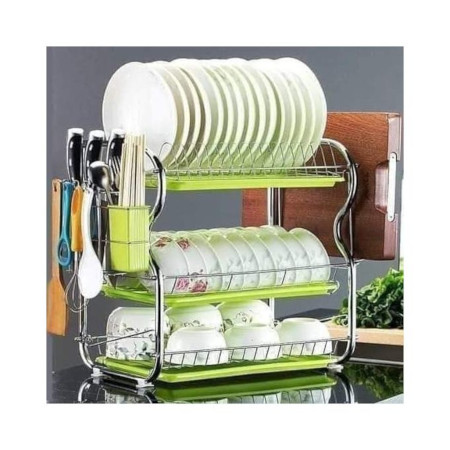 3-Tier Dish Rack Stainless Steel Utensil Holder & Dish Drier