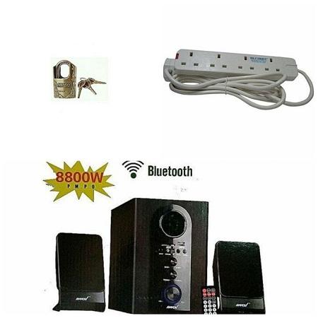 Ampex SUB WOOFER-SPEAKER SYSTEM BLUETOOTH,FM,SB/USB 8800WATTS free Padlock and 4way extension