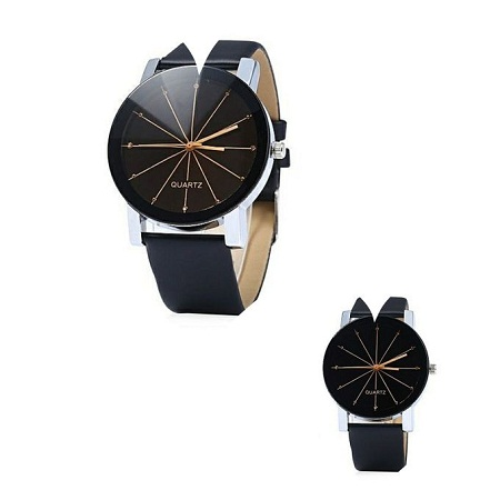Quartz 2 Pack Couple Watches Quartz Dial Leather Watch - Black