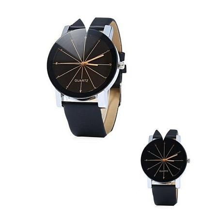 Quartz 2 Pack Couple Watches Quartz Dial Leather Watch - Black