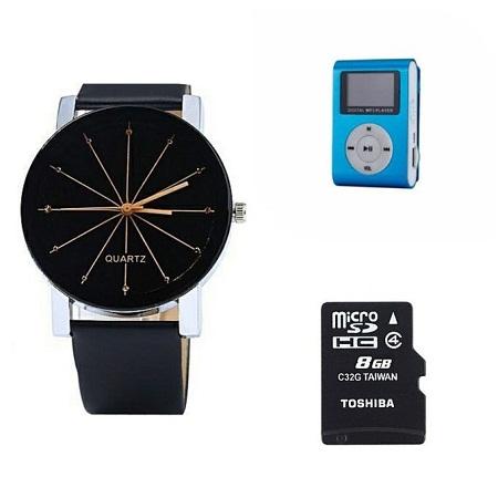 Quartz Male Analog Quartz Watch Free Mp3 player and 8GB Memory card