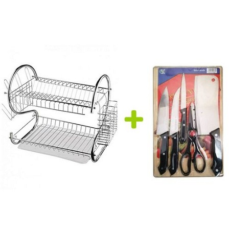 2 Layer Stainless Dish Drainer + Free Knife Set