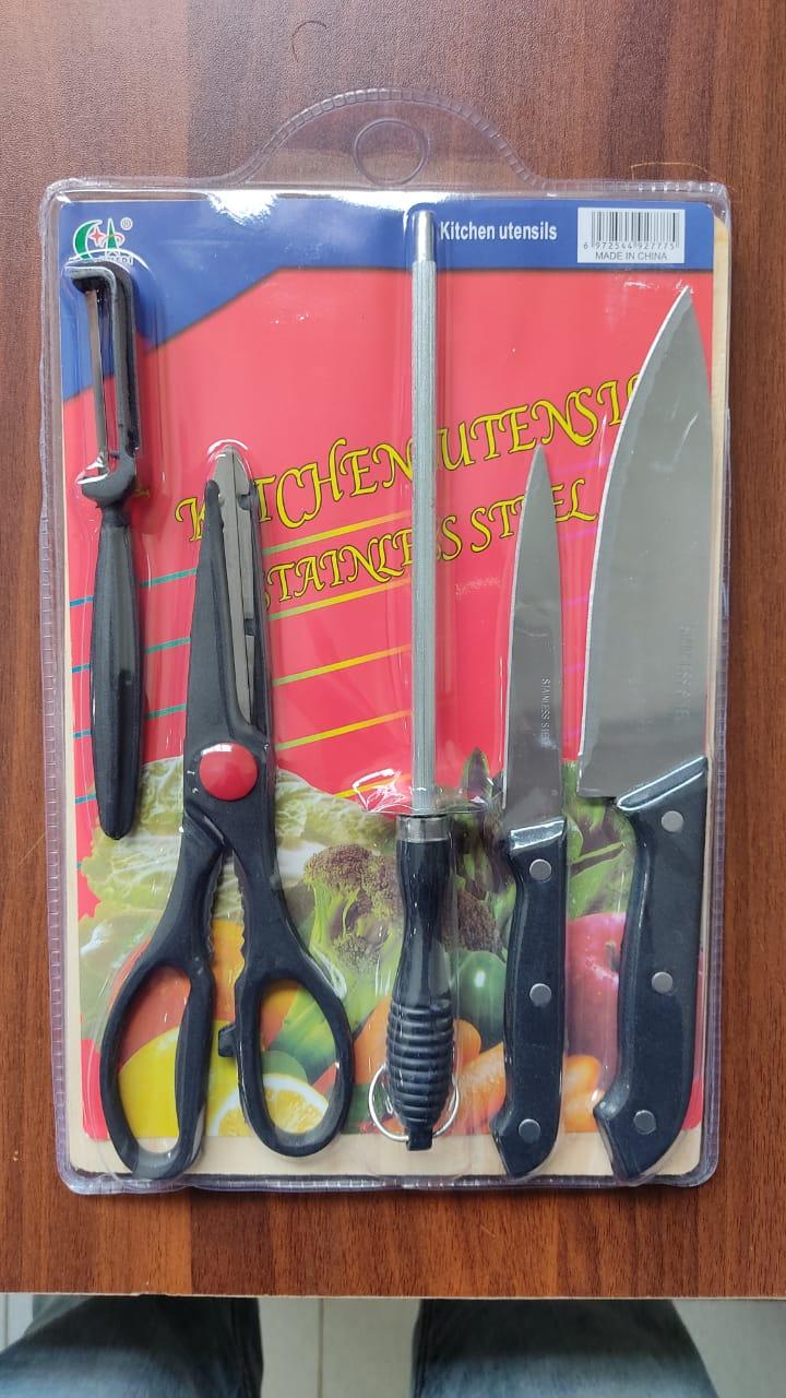 RASHNIK RN-288 Wdn Chopping Board + Knives As Picture 6pcs