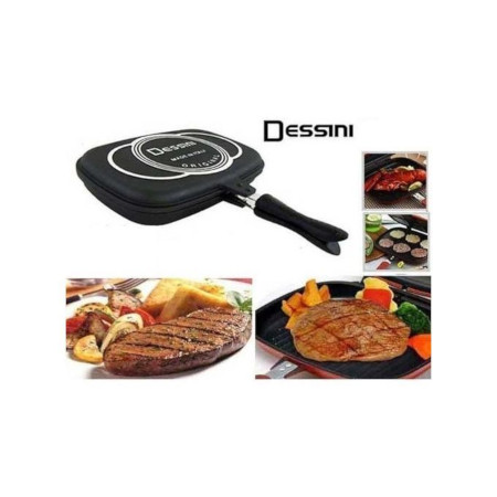 Dessini Double Sided Die Cast Made In Italy Grill Pan 36cm - Black