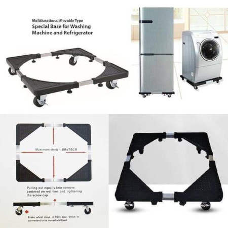 Expandable Movable Washing Machine & Fridge Trolley Stand