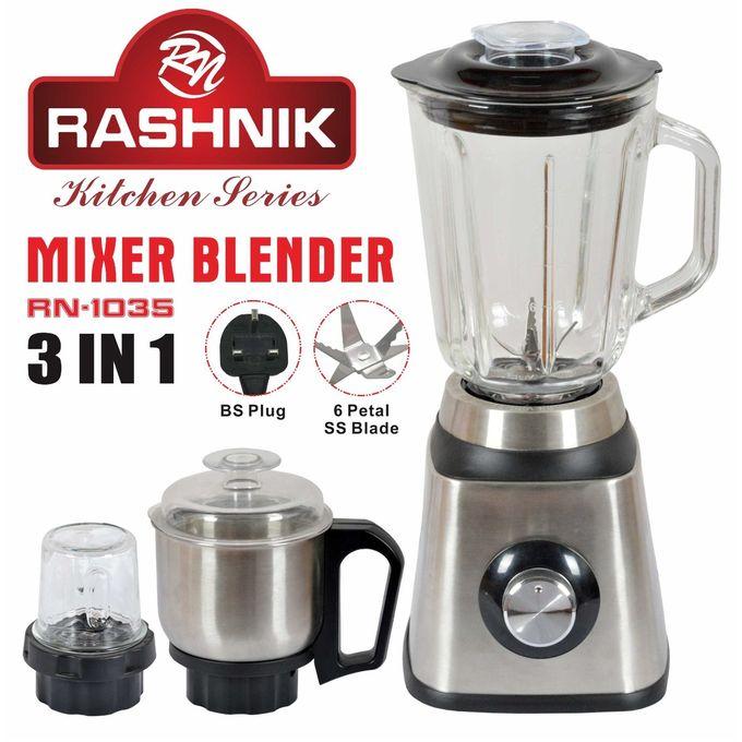 Rashnik RN-1035 Stainless Steel Blender With Glass Jug & Mixer - 1.5L