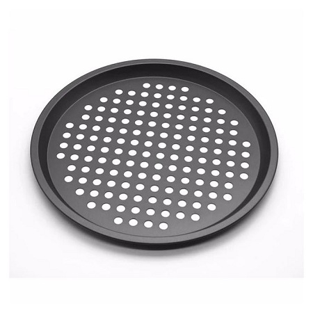 Generic 12 Inch Carbon Steel Non-stick Pizza Baking Pan - Black