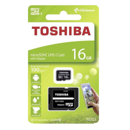 Toshiba 16GB, M203 Class 10, MicroSD Card with Adapter - Black