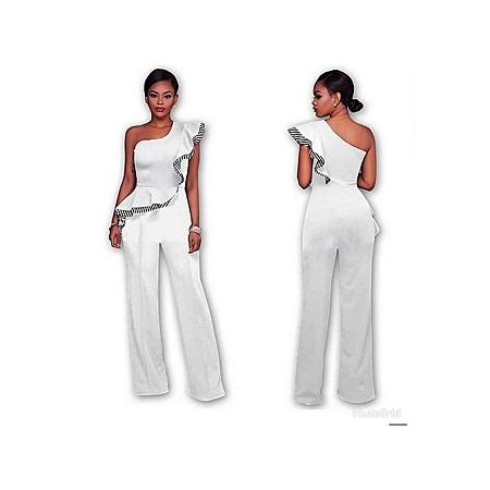 Generic Elegant Sleeve-Less Off Shoulder Jumpsuit/Rompers - White