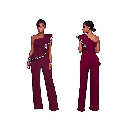 Generic Elegant Sleeve-Less Off Shoulder Jumpsuit/Rompers - Maroon