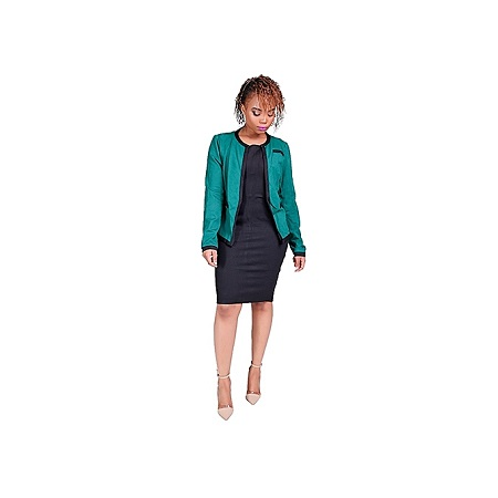 Generic Official Dress Suit - Black Dress+Green Coat