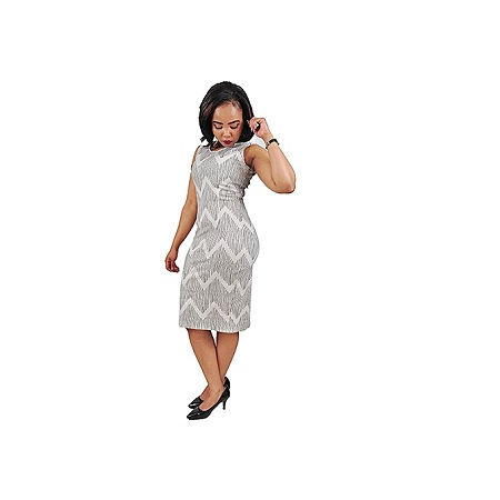 Generic Bold Official/Casual Dress With Linear Prints - White & Black