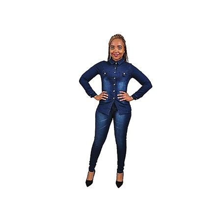 Generic Elegant Denim Suit (Trouser+Top) - Navy Blue