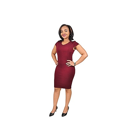 Generic Plain Sleeveless Official Dress - Maroon