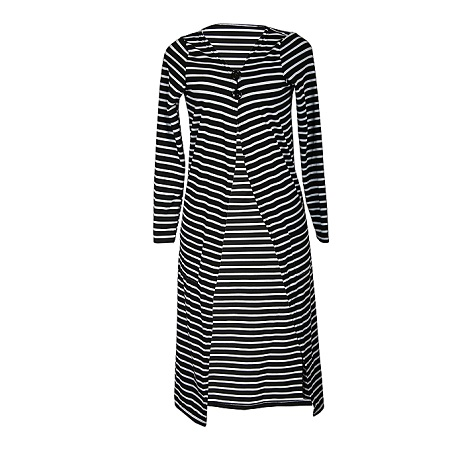 Generic White & Black Striped Long Sleeved Maxi Cover-up Kimono