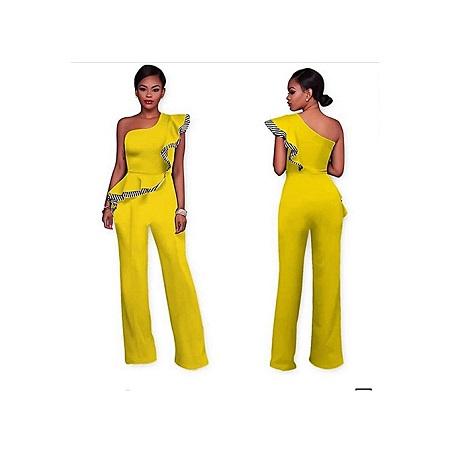 Generic Elegant Sleeve-Less Off Shoulder Jumpsuit/Rompers - Yellow