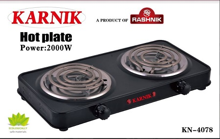 Rashnik KN-4078 Double Spiral Hot plate Electric Burner-2000Watts Black