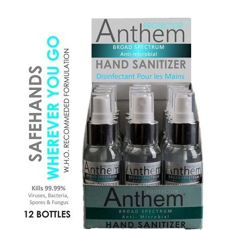 Anthem Anti-Microbial Hand Sanitizer ECONOMY PACK - 12 X 65ml Box