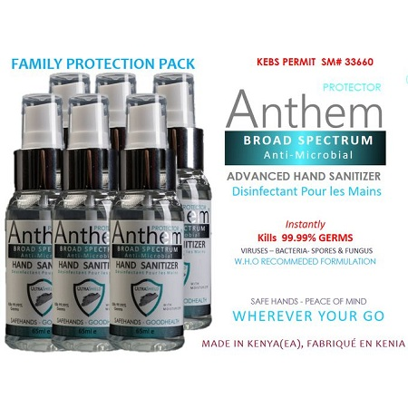 Anthem Anti-Microbial Hand Sanitizer Spray - 65ml FAMILY PACK