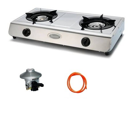 Rebune Gas Stove 2 Burner,Stainless Steel (Silver) with a FREE Gas Regulator And Gas Pipe