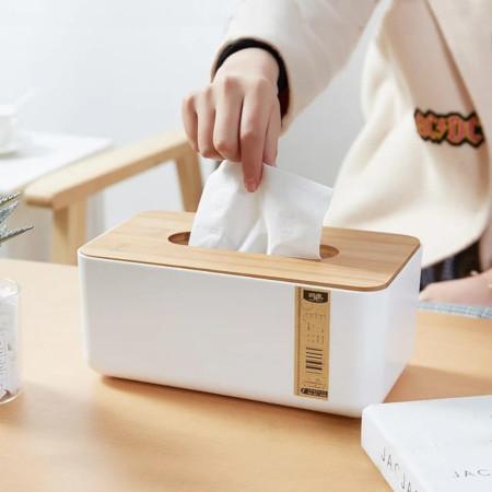 Removable Bamboo Wood Cover Plastic Tissue Box Holder Storage Organizer