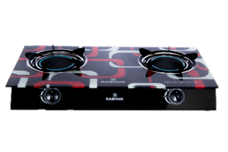 Rashnik RN- 1515 2 Burner Glass Table Top Gas Cooker Glass Top- Black And Red