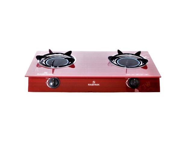 Rashnik RN- 1515 2 Burner Glass Table Top Gas Cooker Glass Top- Red