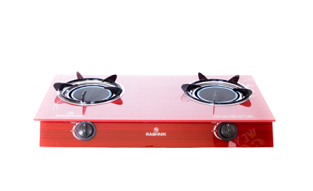 Rashnik RN- 1515 2 Burner Glass Table Top Gas Cooker Glass Top- Red
