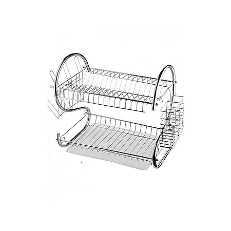 Nunix 2 Tier Dish Rack Stainless Steel, With Drain Board