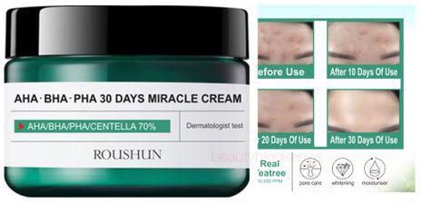 Roushun Teatree AHA BHA PHA 30 Days Miracle Cream -Acne Spots Clear Skin Green as picture