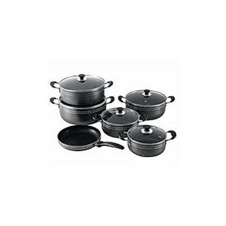 Seemann Non Stick Sufuria Set - Black