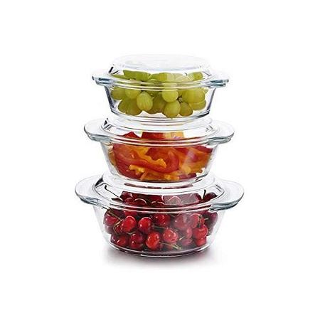 Signature 3 Piece Set Glass Casserole Dish Food Storage Bowl