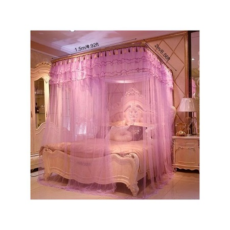 Fashion 2 Stand Mosquito Net with Sliding Rail 5 by 6 - Purple