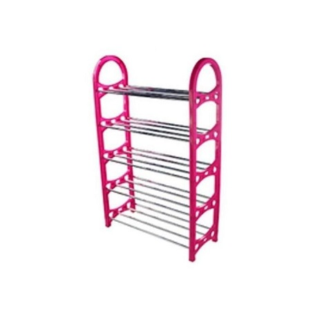 Generic 5 Layer Portable Foldable Shoe Rack - Pink