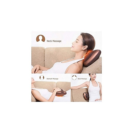 Massage Pillow with Heat Electric Neck Back Foot Massager for Car Home Office Use - Brown