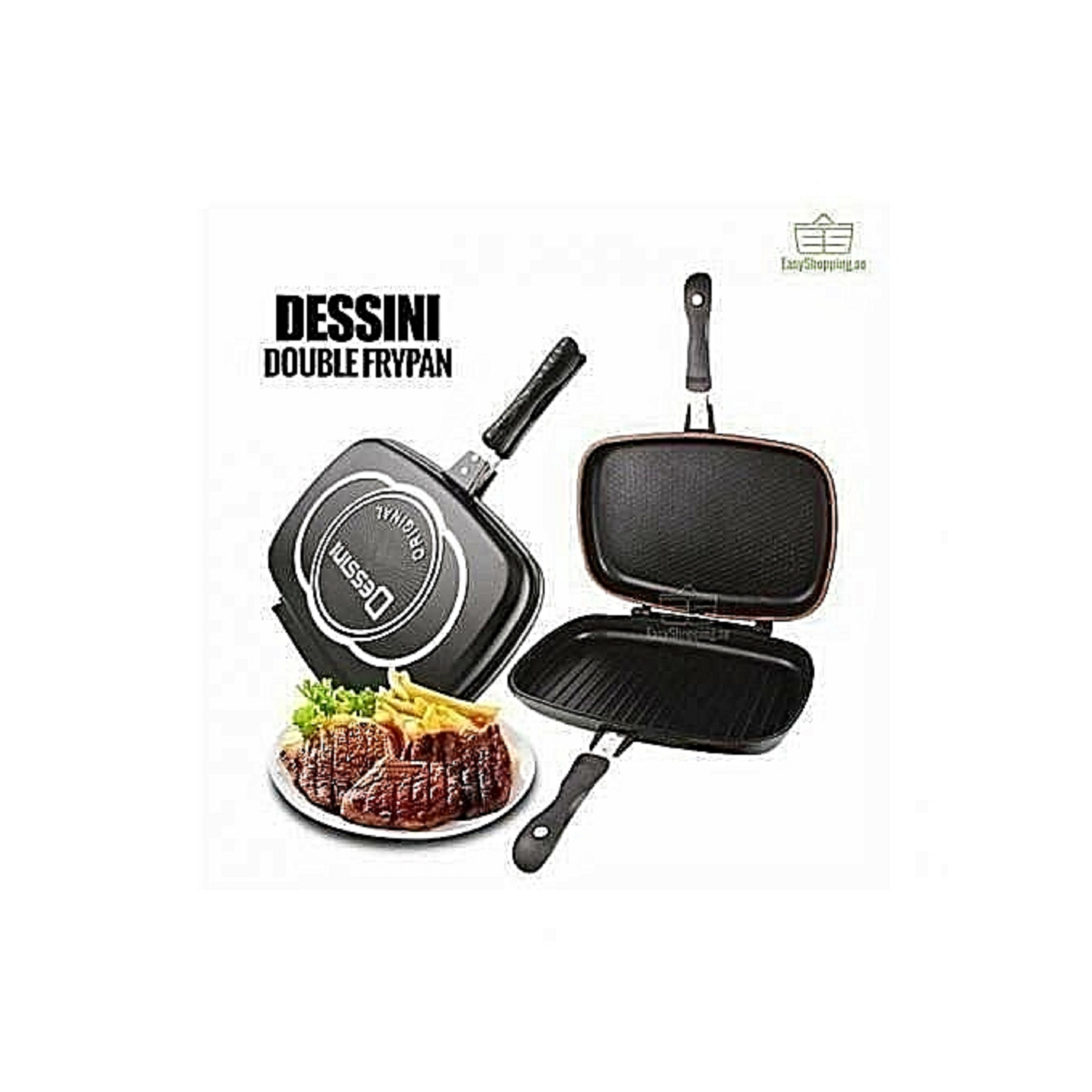 Double Grill Non-stick PressuAre Pan 36cm - Black.