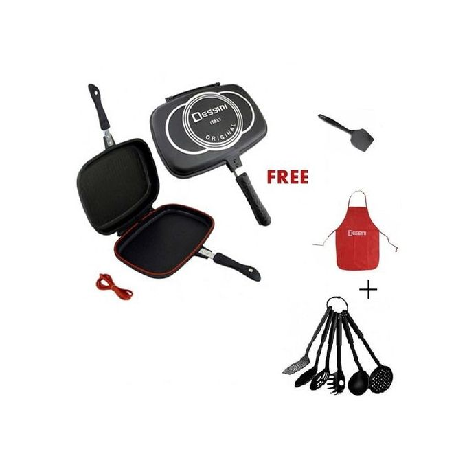 Dessini Double Grill Pan 36cm+Free Apron+Spatula+Nonstick Spoon Set