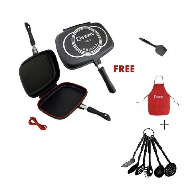 Dessini Double Grill Pan 40cm +Free Apron+Spatula+Nonstick Spoon Set