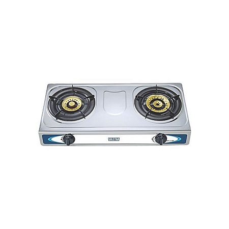 SOLSTAR GB2SS: Table Top Gas Stove - 2 Burners - Metal Top