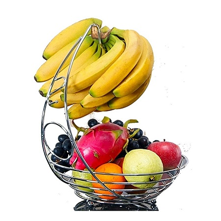 Fruit Basket With Banana Holder - Chrome Metal