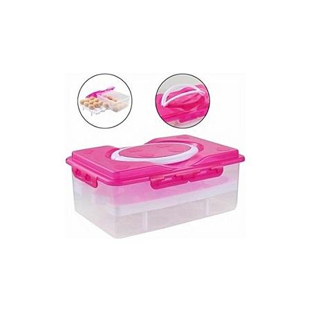 Kitchen Refrigerator 24 Egg Holder Storage Box - Pink