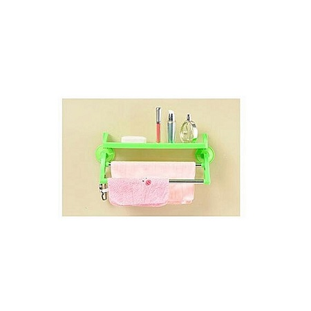 Bathroom Kitchen Plastic Towel Shelf Organizer - Green