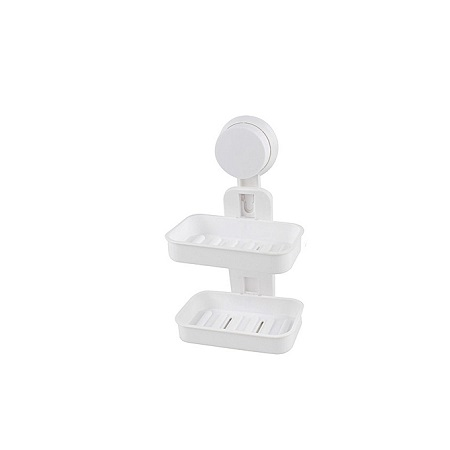 Double Layer Soap Box with Suction Cup Holder - White