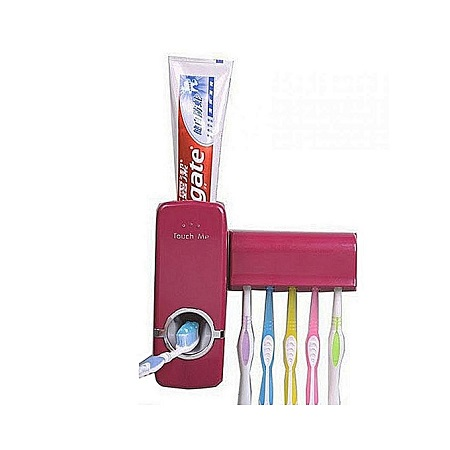 Touch Me Automatic Toothpaste Dispenser with Toothbrush Holder - Burgundy