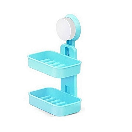 Double Layer Soap Box with Suction Cup Holder - Blue