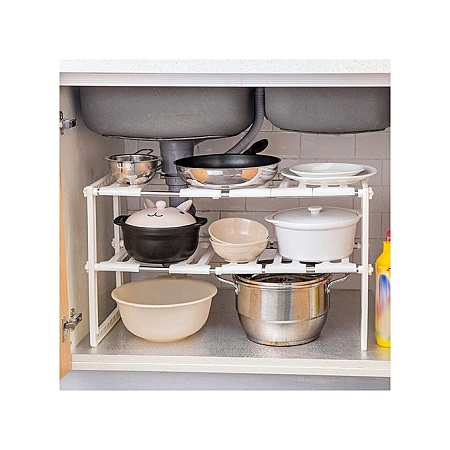 Storage shelf with two adjustable shelves, in stainless steel, to be placed in the kitchen, under the sink, in the bathroom, living room or bedroom