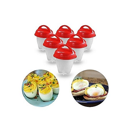 6Pcs Silicon Egg Boiler High-temperature Resistant Egg Cooker Kitchen Utensil- Red