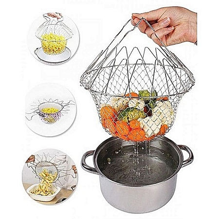 Chef Master Basket 12 in 1 Kitchen Tool for Cook, Deep Fry, Boiling Solid Steel