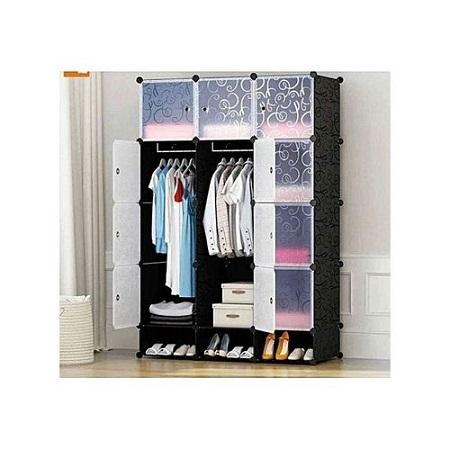 3 Column Plastic Portable Wardrobe (BLACK)