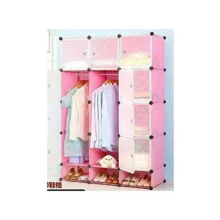 3 Column Plastic Portable Wardrobe (PINK)